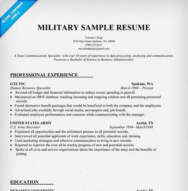 sample resume military experience