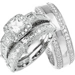His and Hers Wedding Rings BOTH STERLING SILVER Wedding Bands HIM and HER 11 / 7 / Silver