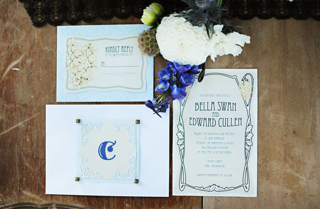bella edward wedding invitations art deco