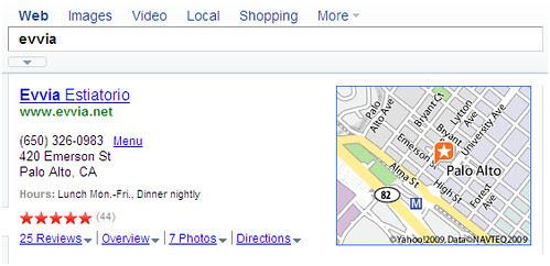 evvia local search on Yahoo!