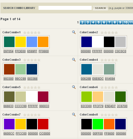 colorcombos - website color combinations