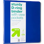 "up & up Sturdy D-ring Binder, 1"", Blue"