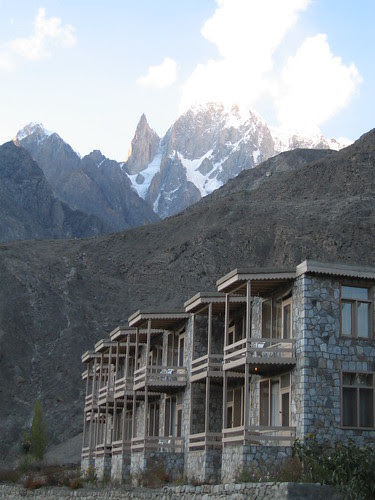 Our rooms at the Eagle's Nest Hotel, Duikar, Karimabad - with Ladyfinger Peak and Hunza Peak in the background