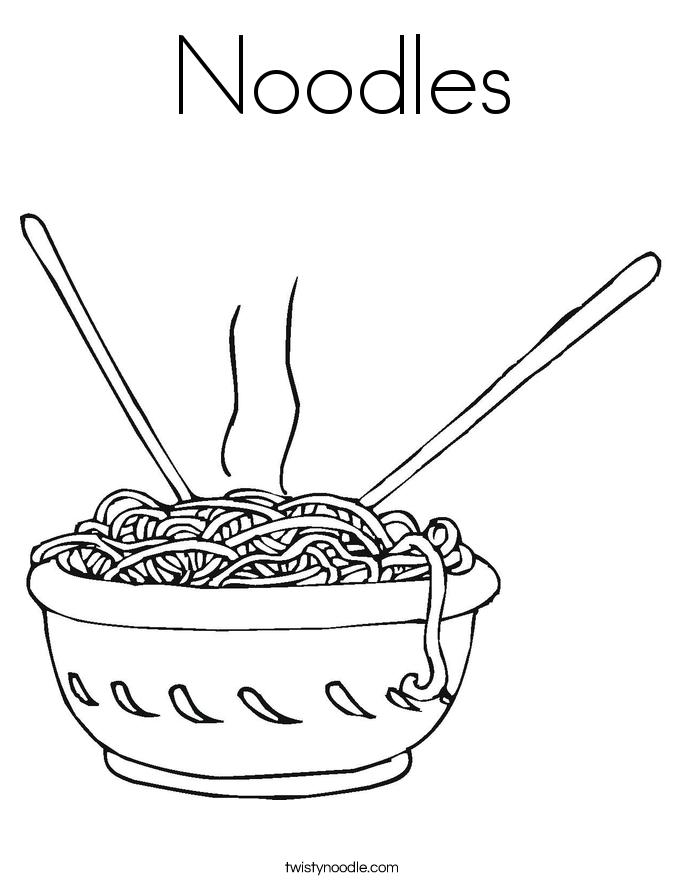 Noodles Coloring Page - Twisty Noodle