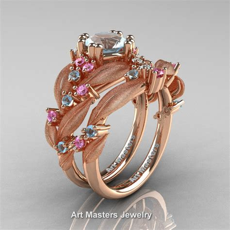 nature classic  rose gold  ct aquamarine light pink