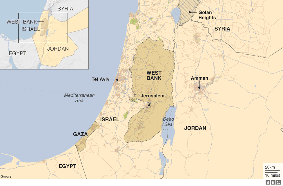 Map showing location of the Dead Sea and surrounding countries