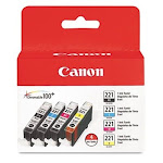 Canon - 221 Four Color Pack Standard Capacity - Black/Yellow/Cyan/Magenta Ink Cartridge - Black/Cyan/Magenta/Yellow