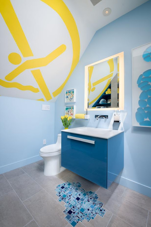 Swimming Pool Artwork Inspires Cool Boy's Bathroom