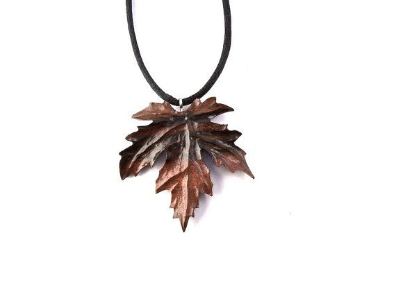 Wood Leaf Necklace Wood Jewelry Wood Necklace Wood by GatewayAlpha, $21.95
