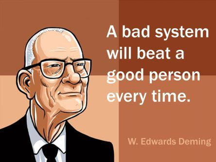 Image: Quote W. Edwards Deming 'A bad system will beat a good person ...