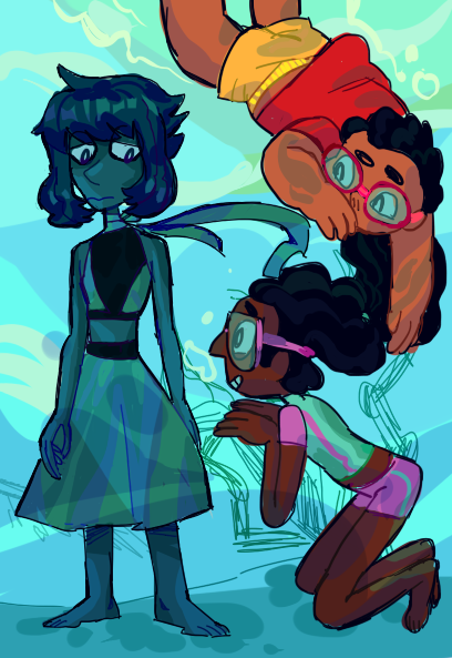 Sometimes the kids say hi to lapis while she walks on the sea floor