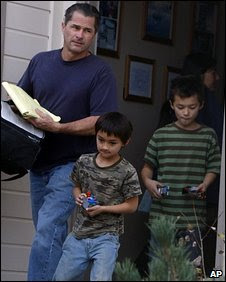 Richard, Falcon and Ryo Heene leave their house in Colorado, 18 October 2009