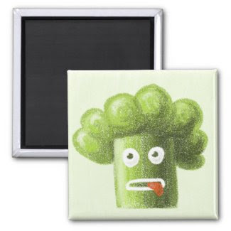 Funny Cartoon Broccoli Magnet