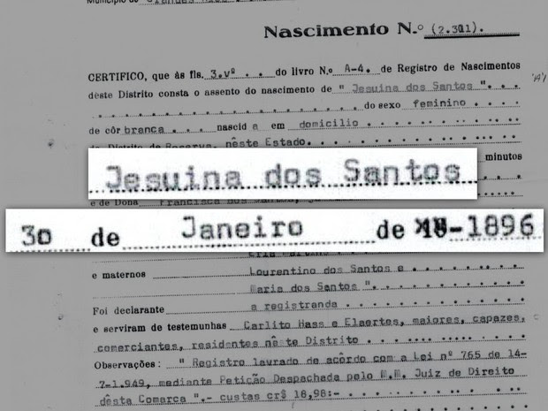 Certidão de nascimento traz a data e horário de nascimento de Jesuína dos Santos (Foto: Valdir Correia de Moraes/Arquivo pessoal)