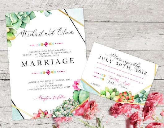 Southwestern Wedding Invitation Desert Wedding Set Boho Chic