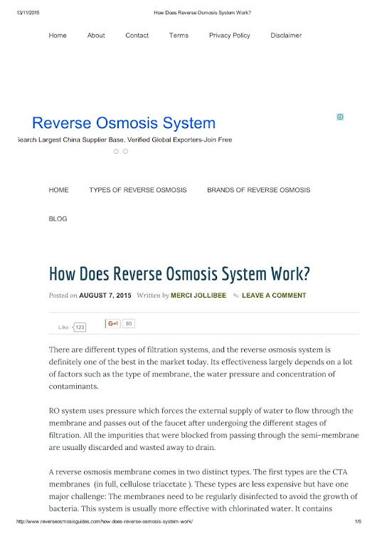 How does reverse osmosis system work?