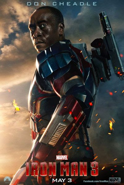 An IRON MAN 3 teaser poster featuring Iron Patriot.