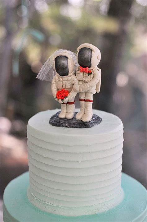 Astronaut Wedding Cake Toppers with Moon Base by