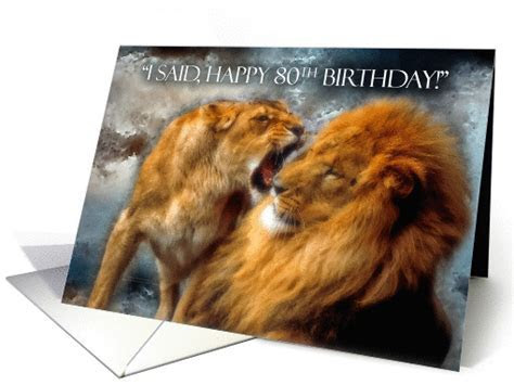 80th Birthday Card for Husband Funny Lion and Lioness