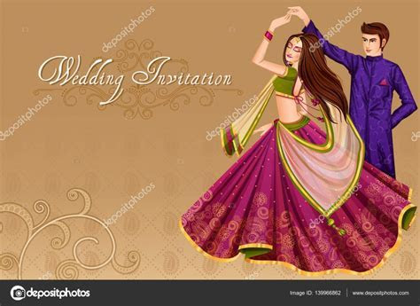 Indian couple dancing in wedding Sangeet ceremony of India