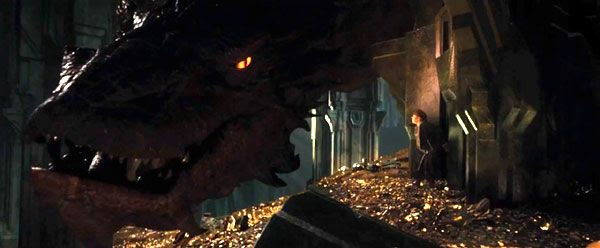 Bilbo Baggins (Martin Freeman) confronts the dragon Smaug in THE HOBBIT: THE DESOLATION OF SMAUG.