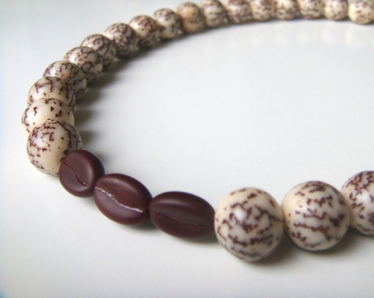 Coffee Espresso Bean Necklace - Natural Salwag Seed and Czech Glass