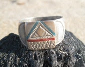 Old Silver Etched African Ring with Red and Blue Triangle