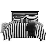 Lyon Paris Striped Comforter Sheet Set Bed In A Bag Black - Twin X-Long Black Striped