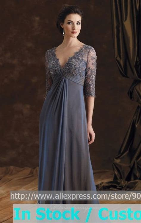 A line Steel Blue Chiffon Lace Evening Dress 3/4 Sleeve V