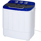 Portable Mini Washing Machine with Hose, 13lbs Capacity - White/Blue