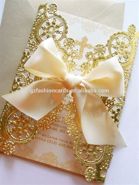 Doily Style Metallic Gold Invitation,Foil Paper Wedding