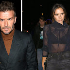 0bdc7df1ce4a82 Victoria Beckham braves the cold in sheer blouse as David and Brooklyn  bundle up