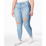 Celebrity Pink Womens Light Blue Ripped Two Tone Jeans Plus Size: 20W