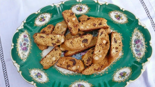 spiced almond biscotti with candied orange and figs