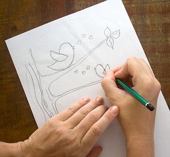 Desenhe no papel o tema que deseja trabalhar