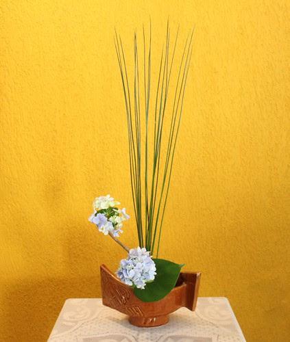 Moribana with hydrangea and juncus by Ligia Ikebana