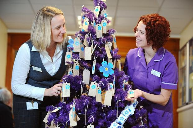 Dawn Parkes, project leader, and Danielle Woods, dementia project manager, with the memories tree at BRI