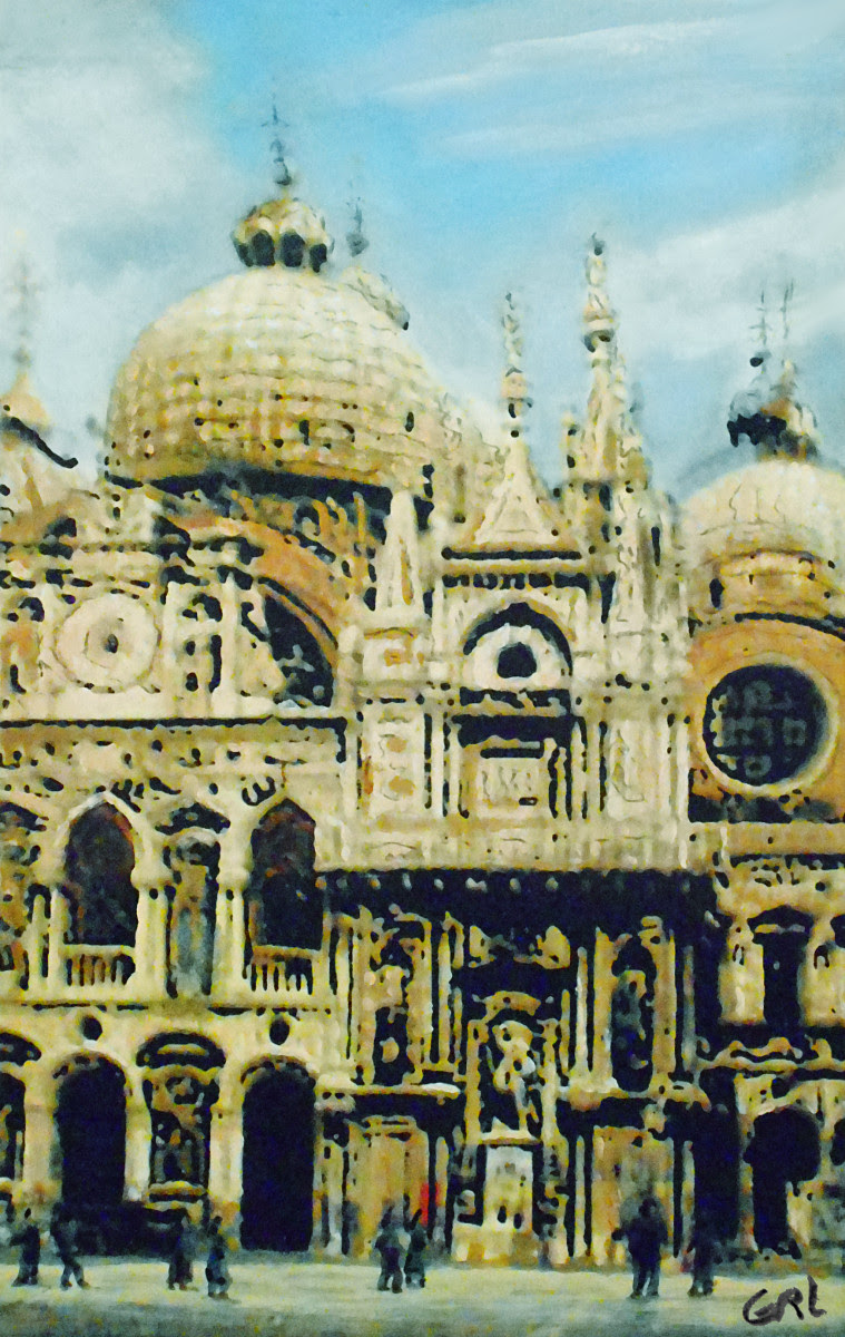 Venice 1 Basilica Original Multimedia Painting. $340, 10.5x16; $20 to $30, medium-size prints, free downloads. A quiet canal in Venice... GrlFineArt Fine art work, based on my own original black and white photos, taken back in the 1950's. Multimedia classical traditional modern acrylic oil paintings. GrlFineArt art fineart painting, room decor, paintings, prints, landscapes, seascapes, boats, figures...