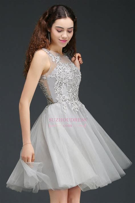 Appliques Tulle Sleeveless A Line Silver Short Homecoming