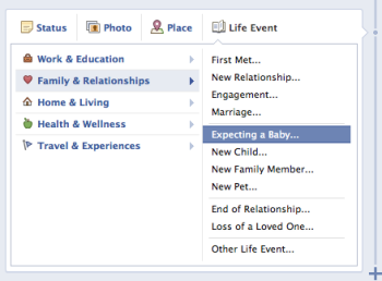 Facebook Lets Users Announce Pregnancies in Timeline