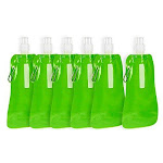 Juvale Collapsible Water Bottle - 16 oz Foldable BPA Free Canteen Drinking Bottles with Carabiner for Travel, Green