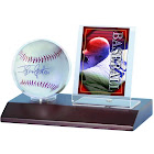 Ultra Pro Dark Wood Base Ball and Card Holder
