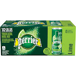 Perrier Sparkling Natural Mineral Water, Lime - 10 pack, 8.45 fl oz cans