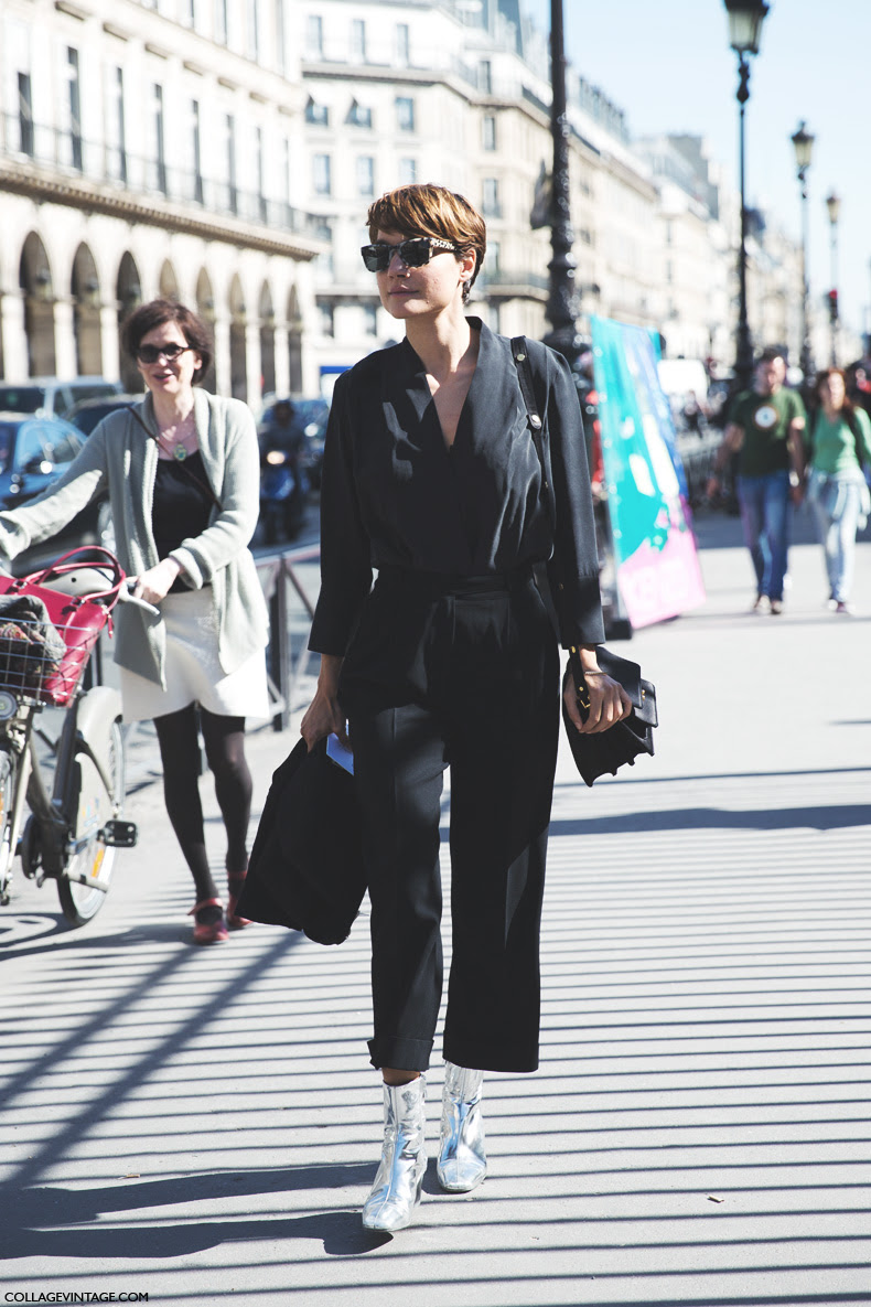 Paris_Fashion_Week_Spring_Summer_15-PFW-Street_Style-Black_Jumpsuit-Silver_Booties-