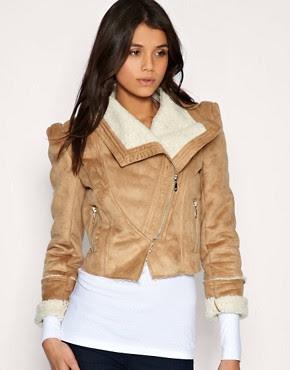 Image 1 ofVila Faux Shearling Biker Jacket With Zip Pocket Detail