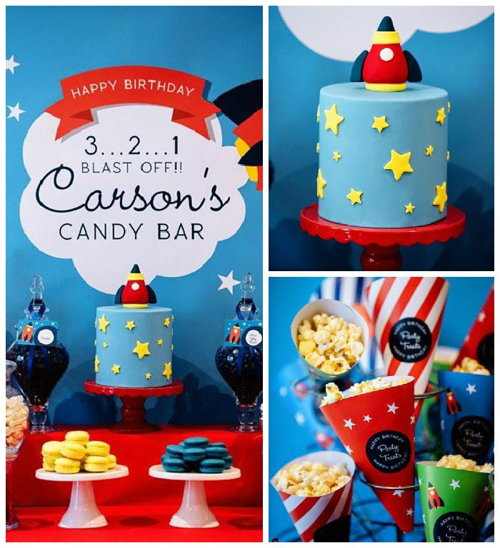 Karas Party Ideas 3 2 1 Blast Off Themed Candy Bar Party