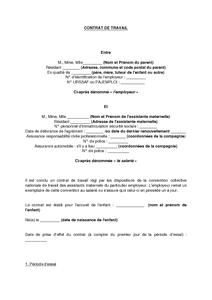 Exemple De Contrat De Travail Assistant Maternel - Exemple de Groupes
