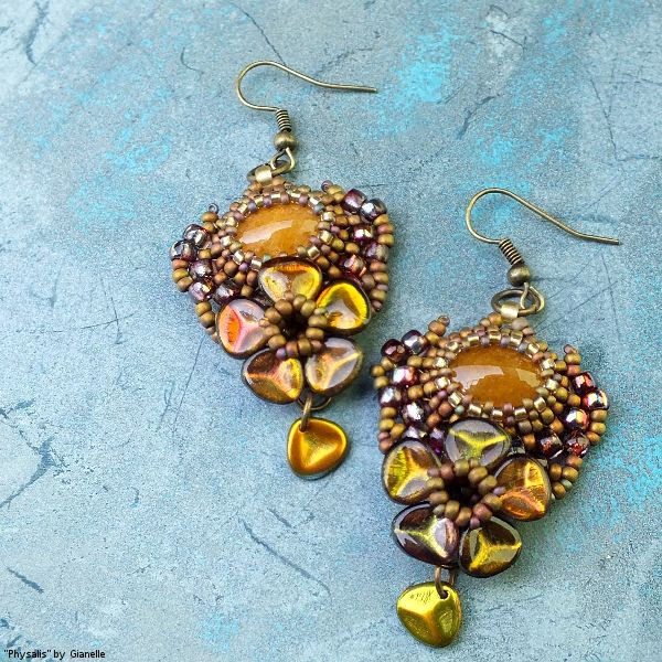 """Physalis Peruviana"" earrings - stone cabochons, TOHO, Matubo seed beads, Czech rose petal beads"