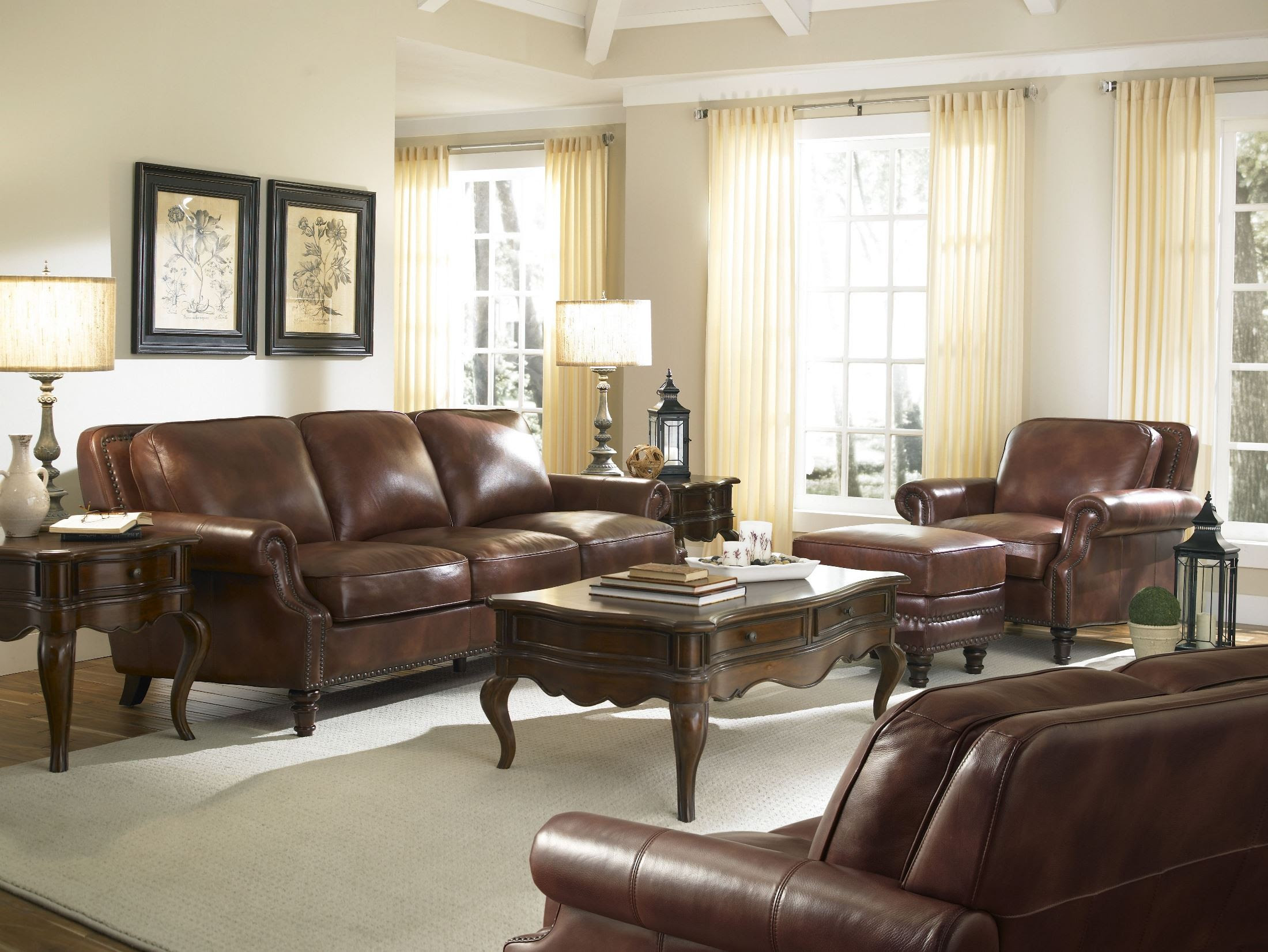 Bentley Rustic Savauge Leather Living Room Set from ...