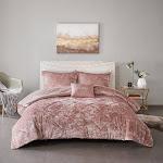Isabel Velvet Comforter Set by Intelligent Design Blush Full - Queen 4 Piece